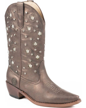 Roper Star Lights Studded Metallic Cowgirl Boots - Snip Toe, Brown, hi-res
