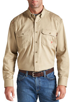 Ariat Flame Resistant Khaki Solid Twill Work Shirt, , hi-res