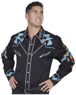 Scully Western Phoenix Shirt - Big Sizes (3XL - 4XL), Black, hi-res