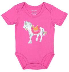 Wrangler Infant Girls' Pink Pony Bodysuit, , hi-res