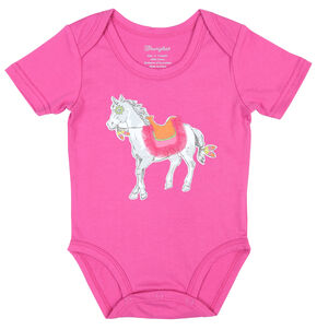 Wrangler Infant Girls' Pink Pony Bodysuit, Pink, hi-res