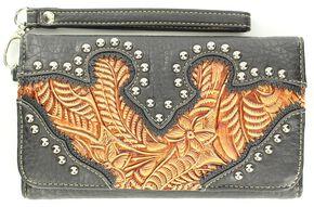 Blazin Roxx Embellished Tooled Inlay Wallet, Brown, hi-res