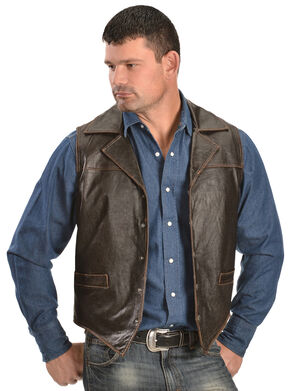 Cripple Creek Men's Leather Snap Front with Flannel Lining Vest, Brown, hi-res