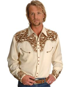 Scully Gunfighter Heavily Embroidered Retro Western Shirt, , hi-res