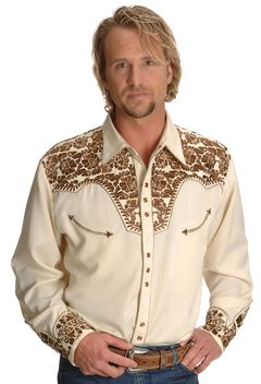 Scully Gunfighter Heavily Embroidered Retro Western Shirt - Big, , hi-res