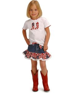Girls' Cowgirl Stars and Stripes Top & Skirt Set - 2T-7, , hi-res