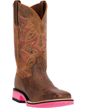 Dan Post Serrano Pink Diamond Pro Cowgirl Boots - Square Toe, Tan, hi-res