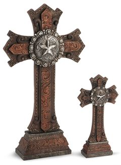 Two-Piece Star Concho Cross Statue Set, , hi-res