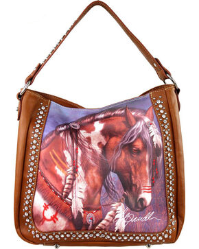 Montana West Laurie Prindle Collection Painted Pony Concealed Carry Bag, Brown, hi-res