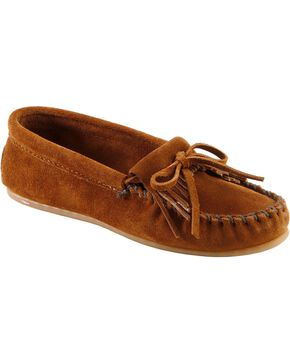 Women's Minnetonka Kiltie Suede Moccasins - Wide, Brown, hi-res