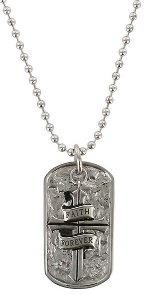 Moonshine Spirit Men's Faith Forever Cross Dog Tag, Silver, hi-res