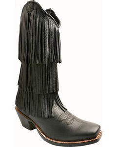 Twisted X Black Fringe Steppin' Out Cowgirl Boots - Square Toe, , hi-res