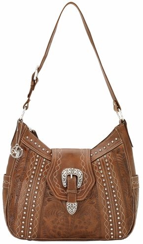 American West Twisted Trail Zip Top Structured Hobo, Antique Brown, hi-res