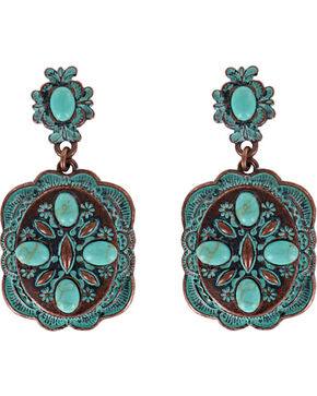 Shyanne Women's Scallop Concho Earrings , Turquoise, hi-res