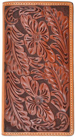 Tony Lama Hand Tooled Leather Rodeo Wallet, Tan, hi-res
