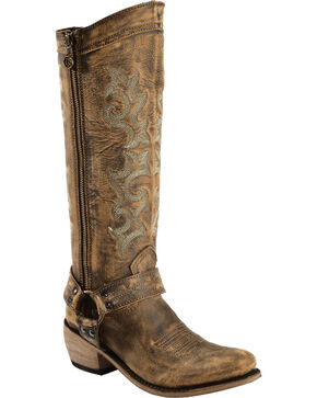 Liberty Black Women's Vintage Canela Tall Harness Boots - Round Toe, Distressed, hi-res