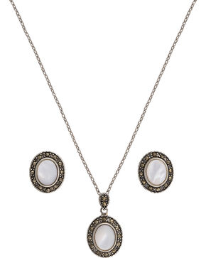 Montana Silversmiths Sparks Will Fly Cowgirl Noir Marcasite Jewelry Set, Silver, hi-res
