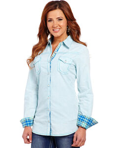 Cowgirl Up Women's Blue Two-Pocket Embroidered Shirt, , hi-res