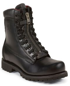 """Chippewa Front 8"""" Lace Zip-Up Work Boots - Steel Toe, Black, hi-res"""