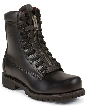 "Chippewa Front 8"" Lace Zip-Up Work Boots - Steel Toe, Black, hi-res"