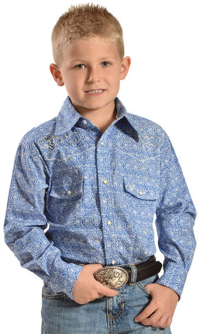 Cowboy Hardware Boys' Team Roper Paisley Print Shirt, Blue, hi-res