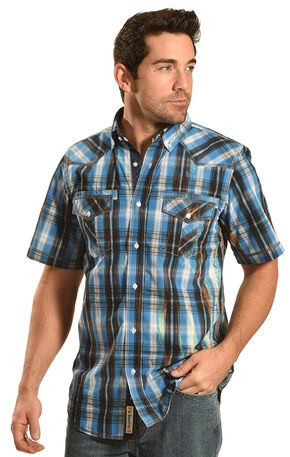 Petrol Men's Blue Plaid Short Sleeve Western Shirt , Blue, hi-res