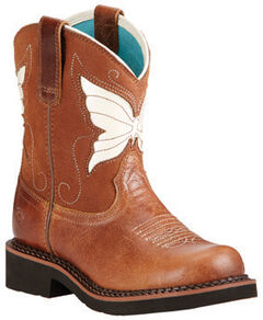 Ariat Youth Girls' Fatbaby Wings Cowgirl Boots - Round Toe, , hi-res