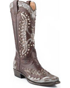 Stetson Eartha Studded Metallic Eagle Cowgirl Boots - Snip Toe, , hi-res