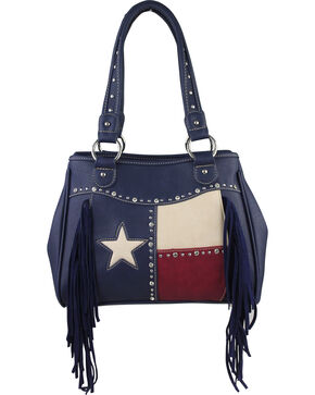 Montana West Women's Texas Star Concealed Carry Fringe Tote, Navy, hi-res