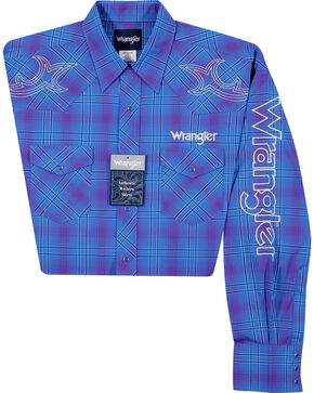 Wrangler Men's Purple Logo Long Sleeve Plaid Shirt , Purple, hi-res