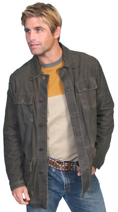 Scully Contemporary Men's Two-Tone Grey Leather Jacket , , hi-res