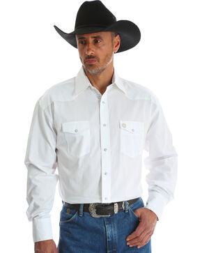 Wrangler Men's White George Strait Troubadour Shirt - Tall, White, hi-res