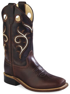 Old West Youth Boys' Brown Swirl Western Cowboy Boots - Square Toe, , hi-res