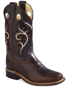 Old West Kids' Brown Swirl Western Cowboy Boots - Square Toe, , hi-res