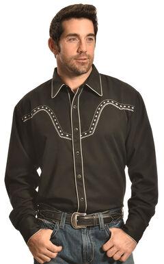Crazy Cowboy Men's Black Stitched Western Snap Shirt , , hi-res