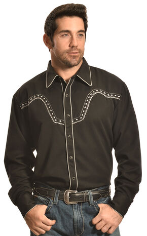 Crazy Cowboy Men's Black Stitched Western Snap Shirt , Black, hi-res