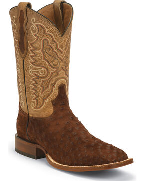 Tony Lama Men's Navaro Ostrich Cowboy Boots - Broad Square Toe , Brown, hi-res