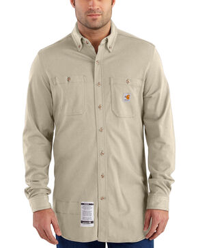 Carhartt Men's Sand Flame-Resistant Force Cotton Hybrid Shirt , Sand, hi-res
