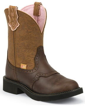 Justin Women's Gemma Cafe Brown Gypsy Cowgirl Boots - Round Toe, Tan, hi-res