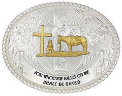 Montana Silversmiths Faith & Wisdom Christian Cowboy Western Belt Buckle, , hi-res