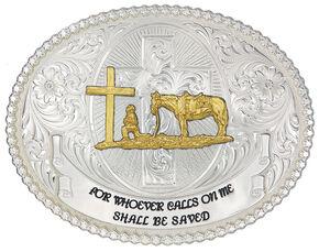 Montana Silversmiths Faith & Wisdom Christian Cowboy Western Belt Buckle, Silver, hi-res