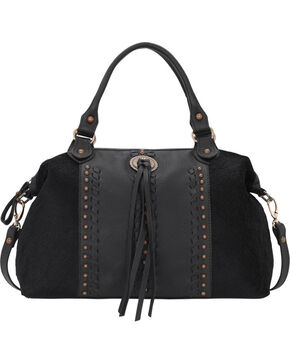 American West Black Cow Town Large Convertible Zip Top Satchel , Black, hi-res
