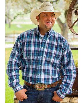 Cinch Men's Blue Long Sleeve One Pocket Plaid Shirt , Blue, hi-res