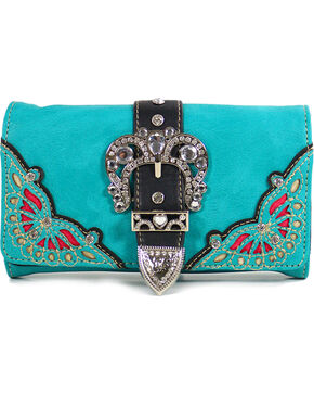 Wear NE Wear Women's Buckle & Overlay Wallet Clutch, Turquoise, hi-res