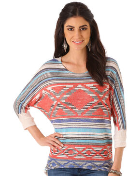 Wrangler Women's Multi 3/4 Sleeve Knit Sweater , Multi, hi-res