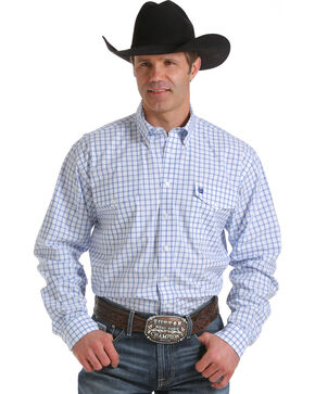 Cinch Men's White Checkered Long Sleeve Western Shirt, White, hi-res