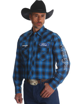 Wrangler Men's Ford Plaid Western Logo Shirt, Blue, hi-res