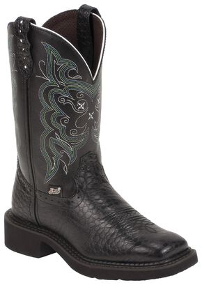 Justin Gypsy Black Pearl Print Cowgirl Boots - Square Toe, Black, hi-res