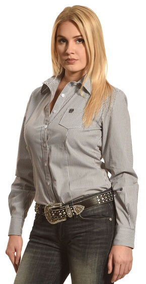 Cinch Women's Charcoal Grey Arena Fit Stripe Long Sleeve Shirt , Charcoal Grey, hi-res