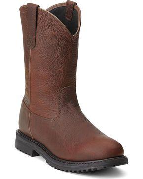 Ariat RigTek Waterproof Pull-On Work Boots - Round Toe, Brown, hi-res